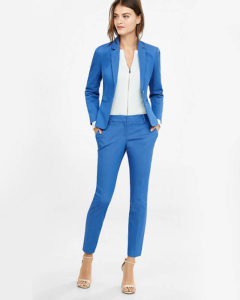 Light Denim Columnist Ankle Pant at Express  (Modern woman's business suit)